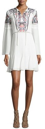 Parker Milly Embroidered Long-Sleeve Mini Dress, Ivory $245 thestylecure.com