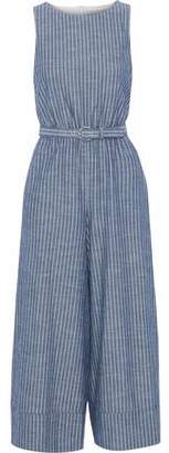 Alice + Olivia Belted Striped Cutout Cotton-Chambray Jumpsuit