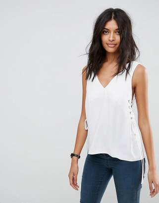 Asos Design Singlet with Lace Up Sides