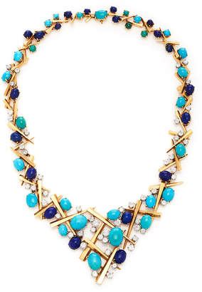 Lapis Vintage Marianne Ostier Turquoise And Bib Necklace