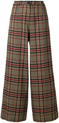 Pinko checked wide leg trousers