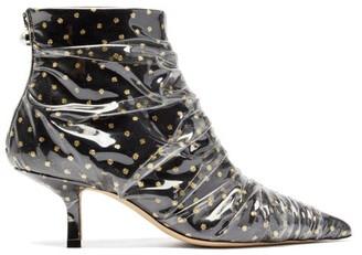 Midnight 00 Antoinette Polka Dot Tulle & Pvc Ankle Boots - Womens - Black Gold