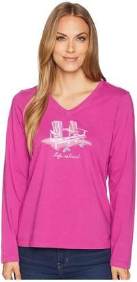 Life is Good Double Adirondack Long Sleeve Crusher Vee Women's T Shirt