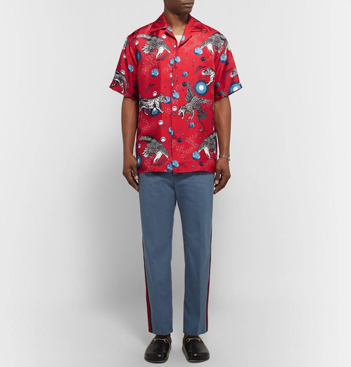 Gucci Space Animals Camp-Collar Printed Silk-Twill Shirt 3
