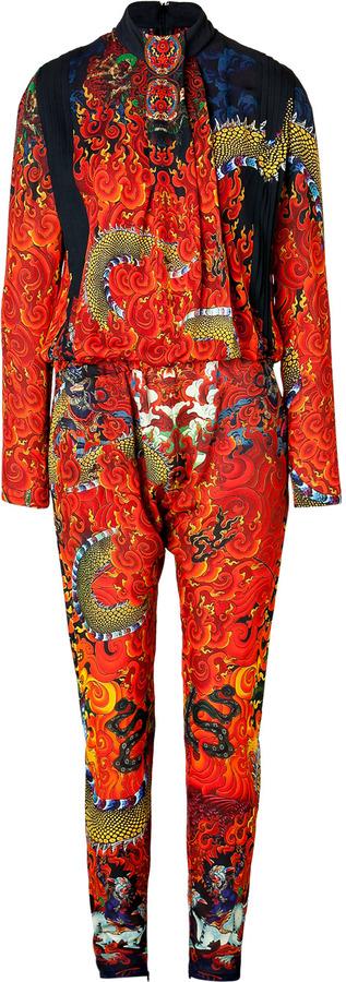 Just Cavalli Silk Tie Neck Jumpsuit