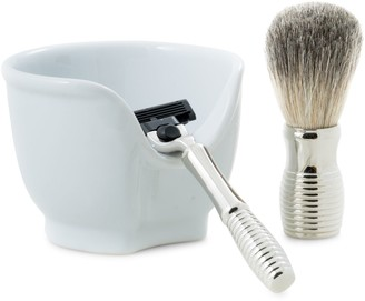 Bey-Berk Bey Berk 3-Piece Mach3 Razor, Badger Brush & Porcelain Soap Dish Set