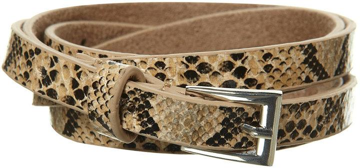 Natural Skinny Faux Snakeskin Belt