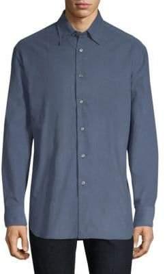 Brioni Spread Collar Cotton Button-Down Shirt