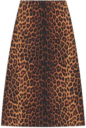 Gucci Leopard print wool pencil skirt