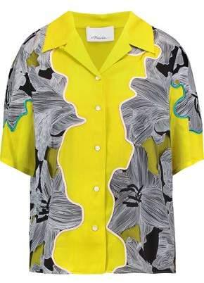 3.1 Phillip Lim Paneled Mesh-Trimmed Printed Silk Shirt