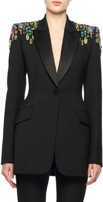 Alexander McQueen One-Button Embellished-Shoulder Lightweight Wool-Silk Tux Blazer