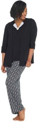 Carole Hochman Petite Ripple Tiles Patio Pant 3 Pc PJ Set