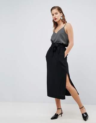 Asos DESIGN Paper Bag Waist Split Side Midi Pencil Skirt