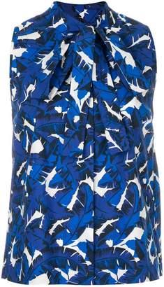 MSGM leaf print sleeveless blouse