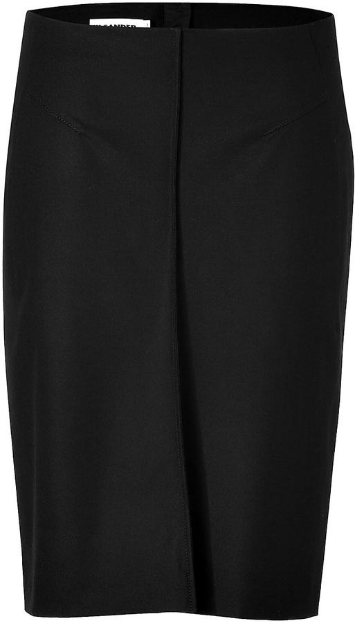 Jil Sander Wool Skirt in Black