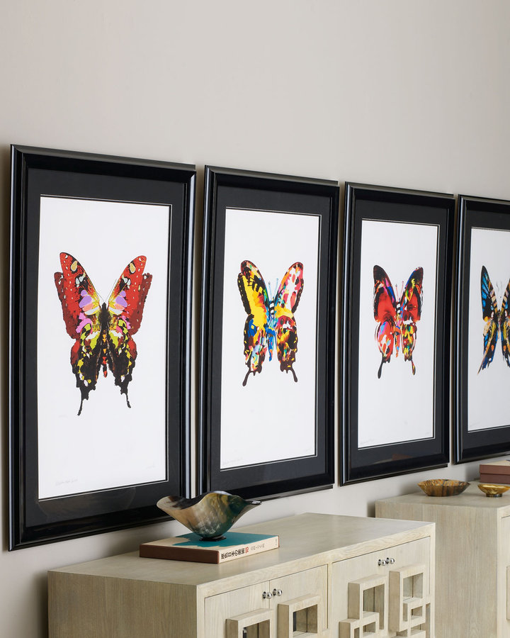 Horchow Butterfly Fantasy Print, Yellow