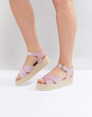 Head Over Heels by Dune Flatform Espadrille with Pink Glitter Straps