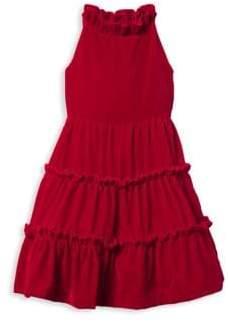 Janie and Jack Little Girl's& Girl's Velvet Ruffle Dress