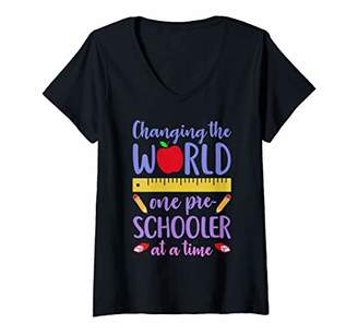 Womens Teacher CHANGING WORLD ONE PRE-SCHOOLER AT A TIME Cute Gift V-Neck T-Shirt