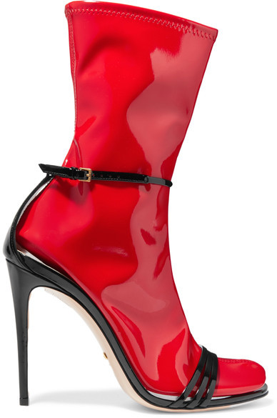 Gucci - Convertible Patent-leather And Latex Sandals - Red
