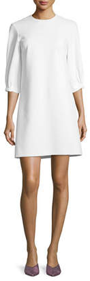 Tibi Crewneck Lace-Up Back A-Line Crepe Dress