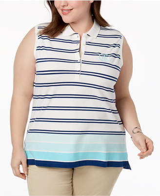 Tommy Hilfiger Plus Size Striped Sleeveless Polo Top, Created for Macy's