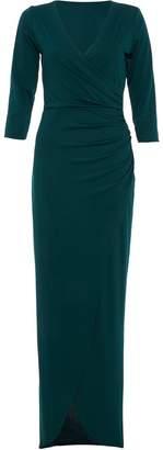 Quiz Bottle Green Wrap 3/4 Sleeve Maxi Dress