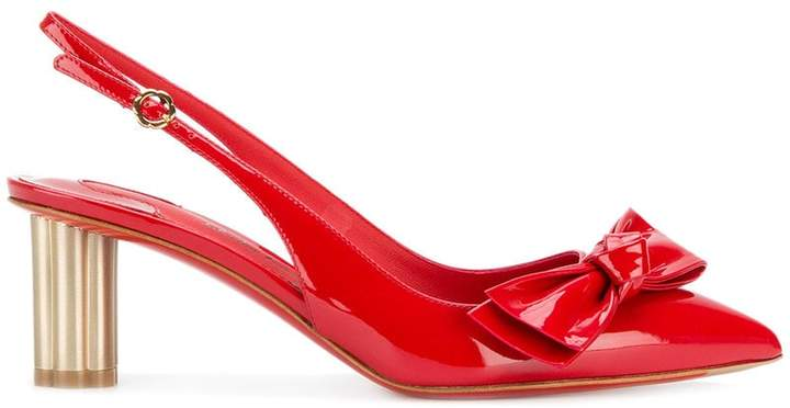 Salvatore Ferragamo bow-embellished patent leather pumps