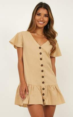 Showpo All Together Dress in beige linen look - 6 (XS) Casual Dresses