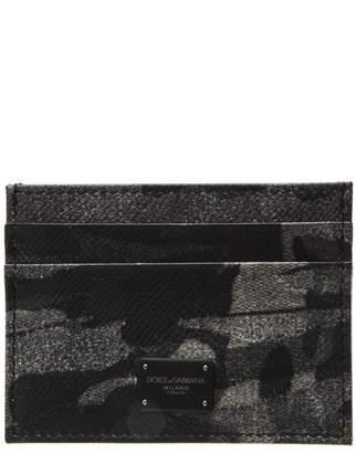 Dolce & Gabbana Grey Military Dauphine Calf Skin Card Holder
