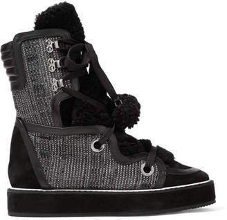 Kira Leather, Suede And Faux Shearling-trimmed Tweed Snow Boots - Black