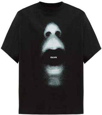 Marcelo Burlon County of Milan Oversized Mouth Print Cotton T Shirt - Mens - Black Grey