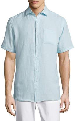 Saks Fifth Avenue Black Short Sleeve Linen Shirt