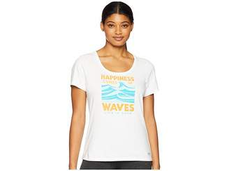 Life is Good Happiness Comes in Waves Crusher Scoop Neck T-Shirt