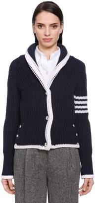 Thom Browne Intarsia Stripes Wool Knit Cardigan