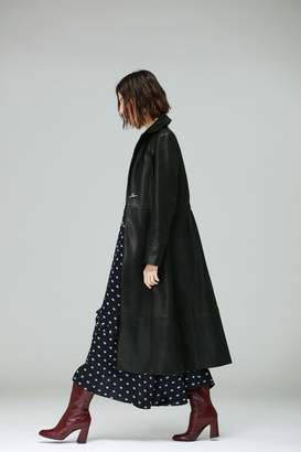 Veda Meter Leather Trench Coat Black