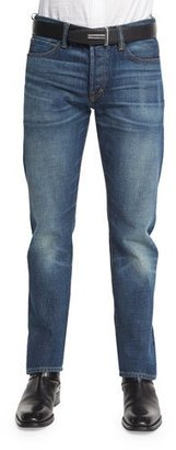 TOM FORD Straight-Fit High-Low Selvedge Denim Jeans, Indigo $690 thestylecure.com