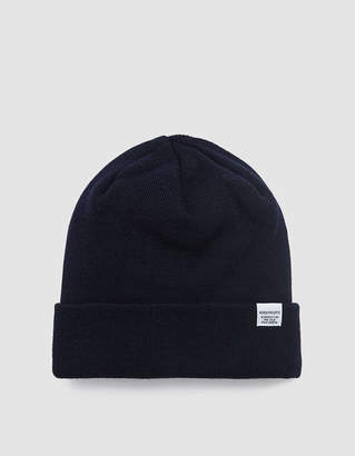 Norse Projects Norse Top Beanie in Navy