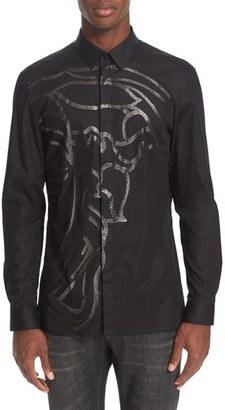 Men's Versace Collection Trim Fit Beaded Medusa Sport Shirt $450 thestylecure.com