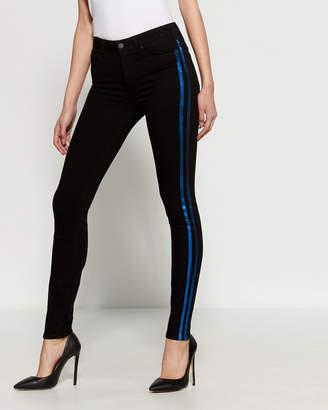 Paige Black Tuxedo Stripe High-Rise Ultra Skinny Pants