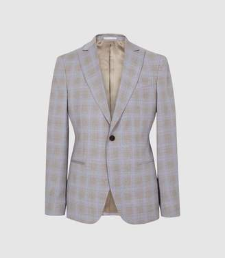 Reiss Yale - Checked Slim Fit Blazer in Light Blue