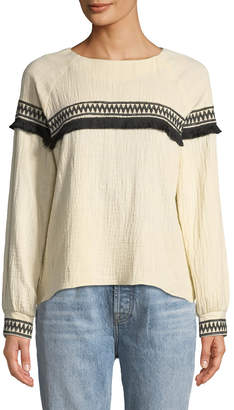 Moon River Embroidered-Trim Peasant Blouse