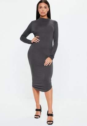 Missguided Gray Turtle Neck Long Sleeve Bodycon Midi Dress