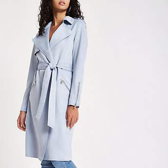 River Island Light blue faux suedette longline trench coat