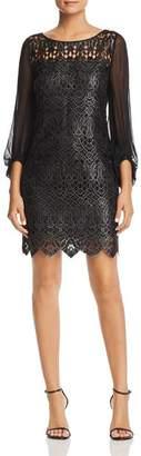 Elie Tahari Merida Metallic Embroidered Dress