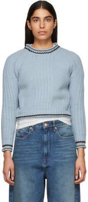 Carven Blue Striped Trim Sweater