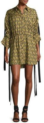 Magda Butrym Goteborg Floral-Print Shirtdress with Dangling Ties, Yellow