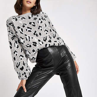 River Island White leopard print knitted sweater