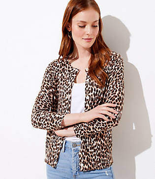 LOFT Petite Leopard Print 3/4 Sleeve Cardigan