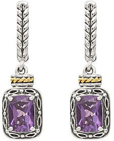 QVC Sterling & 14K Rectangle Gemstone Dangle Post Earrings